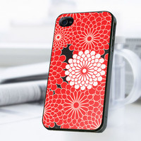 Red Flowers iPhone 4 Or 4S Case