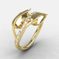14K Yellow Gold Cubic Zirconia Leaf and Vine Wedding Ring, Engagement Ring NN113-14KYGCZ