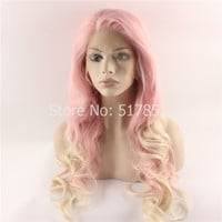 F2 Heat Resistant Hair Wig Cosplay Party Wig Pink Body Wavy Fashion Synthetic Lace Front Wig Pink Blonde Ombre Wig-in Synthetic Wigs from Beauty & Health on Aliexpress.com | Alibaba Group