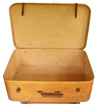 Vintage Wooden Suitcase, Vintage Custom Made Luggage, One of a Kind  Wood Suit Case, Oak Wood Storage Box, Display Piece
