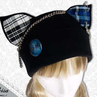 Cat Kitty Fleece Hat Anime Cosplay Punk JRock (Plaid White & Blue Ears)