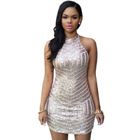 Womens Sexy Rose Gold Shinning Homecoming Dresses
