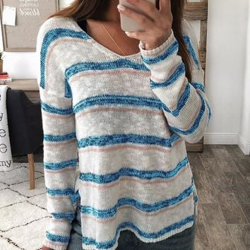 New Blue-White Striped Print Double Slit Oversize Long Sleeve V-neck Casual Slouchy Pullover Sweater