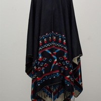 Tribal Pattern Poncho - Red