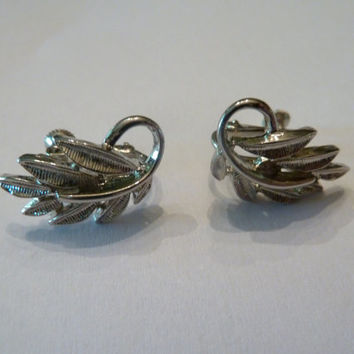 Vintage Napier Silver Leaf Clip Earrings 1960s Costume Jewelry
