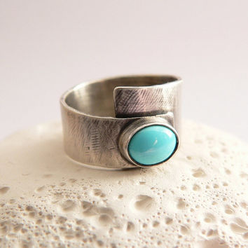 Adjustable Sterling silver wide band ring with Sleeping Beauty turquoise, rustic textured hammered ring, metalwork, handmade, OOAK