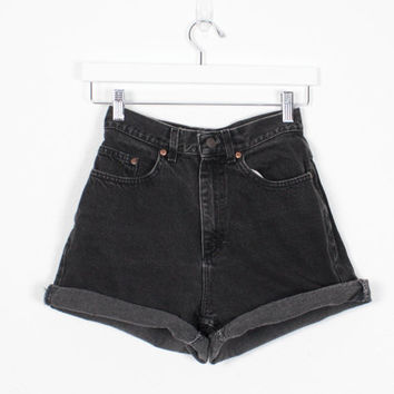 Vintage High Waisted Shorts Black Denim Shorts 1990s Shorts Mom Shorts Soft Grunge 90s Shorts Lee Denim Shorts Black Jean Shorts 27 S Small