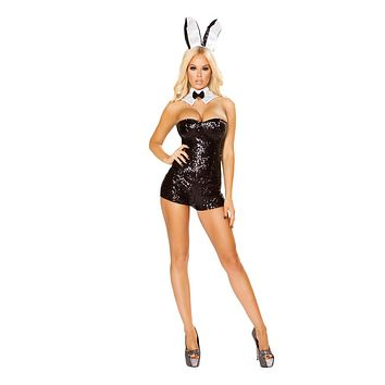 Roma Costumes Halloween Party Womens 3 Piece Glamorous Bunny Black - Large