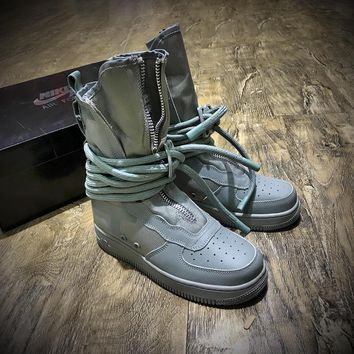 Newest Nike Sf Air Force 1 High Af1 Beige Functional Boots Diatom Blue Aa1128 203
