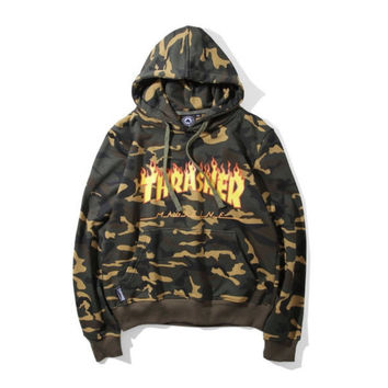 Thrasher Camo 'Up in Flames' Hoodie