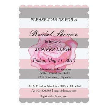 "Soft pink rose and stripes Bridal shower 5"" X 7"" Invitation Card"