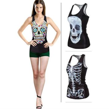 New fashion trend  summer Women Skull Head Printed V-neck vest Punk rock style personality women sleeveless T-shirt One size