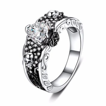 Rose Flower Skull Rings Women Men Punk Skeleton Two-tone Plated Heart AAA Zircon Wedding Finger Ring Europen American New Design
