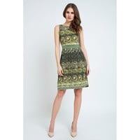 Sleeveless A-Line Print Dress
