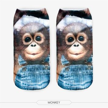 Hot SaleMeias Man Women Sock Casual Cute Harajuku Funny Horse Monkey Socks Unisex Low
