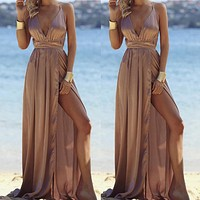 2020 Women's New V-neck Fashion Sexy Backless Solid Color Dress Dress