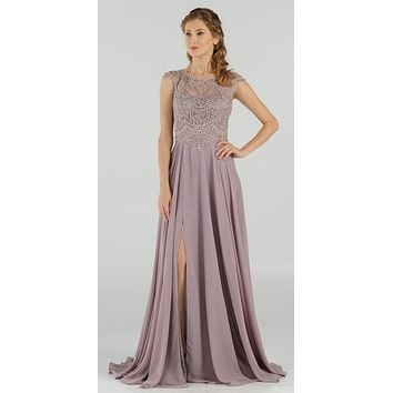 CLEARANCE - Mauve Cap Sleeves Embroidered Long Formal Dress with Slit (Size Medium)