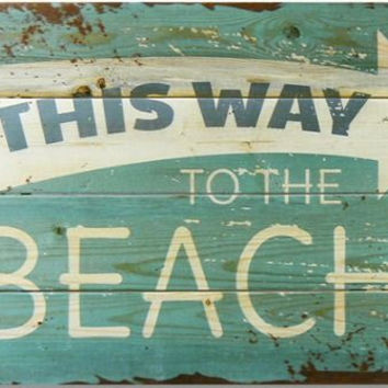 This Way to The Beach Wooden Sign