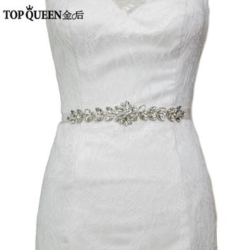 TOPQUEEN S69 Crystal Rhinestones Evening Party Gown Dresses Accessories Wedding Belts Sashes,Bride Waistband Bridal Sashes Belts