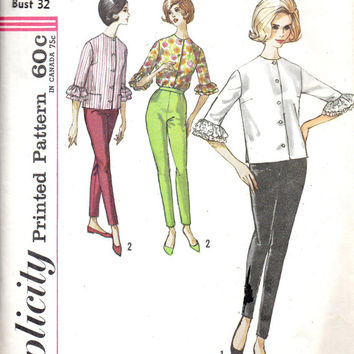 Retro Pedal Pusher Pencil Cigarette Pants Ruffle Sleeve Blouse Top Shirt Vintage 60s Sewing Pattern Simplicity 4699 Size 12 Bust 32