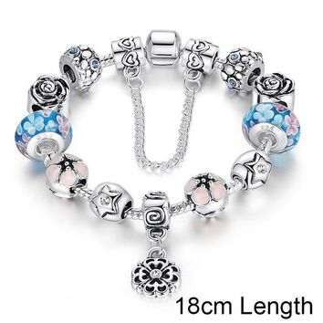 Silver Exquisite Glass Bead Bracelet With Safety Chain Luxury Strand Bracelet Jewelry PA1833
