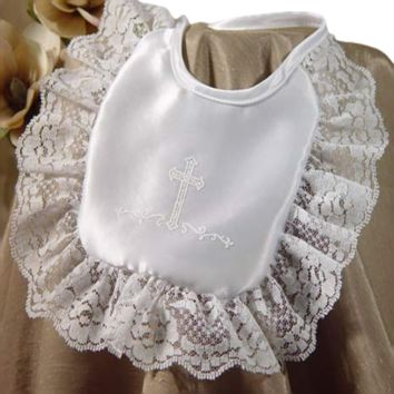 Handmade White Satin & Lace Christening Bib with Screened Cross (Infant Girls)