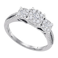 Diamond Fashion Bridal Ring in 14k White Gold 0.52 ctw