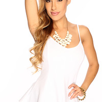 White Spaghetti Strap Cute Summer Peplum Dressy Top