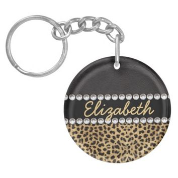 Leopard Spot Rhinestone Diamonds Personalized Single-Sided Round Acrylic Keychain
