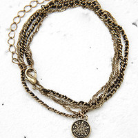 Etched Medallion Wrap Bracelet