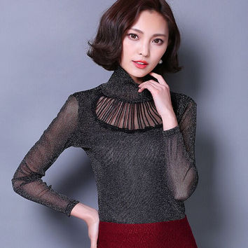 Spring 2016 blusas Fashion T shirt Long sleeve Sexy lace Tops Turtleneck embroidered gauze Women Casual shirt