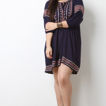 Embroidered Design Peasant Mini Dress