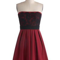 ModCloth Mid-length Strapless Empire Obviously Adorable Dress in Burgundy