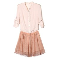 Bqueen Lace Stitching Shirt Dress Pink NH18F - Designer Shoes|Bqueenshoes.com