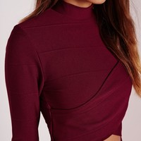Missguided - Wrap Long Sleeve Bandage Crop Top Burgundy