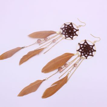 Chain Tassels Earrings Stylish Fashion Strong Character Crystal Feather Dream Catcher [10985318279]
