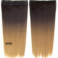 """Dip dye hairpieces New Fashion 24"""" Women Clip in on gradient wig Bath & Beauty Hair Ombre Hair Extensions Two Tone Straight hair Gradient Hair Extension Colorful Hairpieces GS-666 4T27,1PCS"""