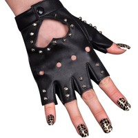Women PU Leather Motorcycle Bike Car Fingerless Performances Glove (Black1)