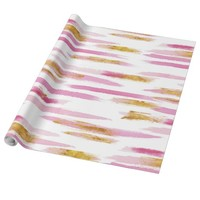 Pretty Watercolor Pink And Gold Brush Strokes Wrapping Paper
