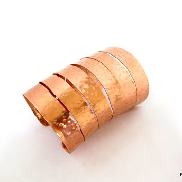 Super Tall Copper Cuff with Hammered Finish, Gift for Her