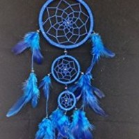"Blue Dream Catcher 3 Circles 3.5"" Dia 16"" Long Feather Decoration Hanging Craft"