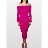 Fashion Long Sleeve Off Shoulder Slash Neck Sexy Club Women Dress Slim Bodycon Knitted Sweater Knee-Length Party Night Dresses