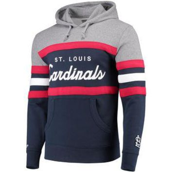 St Louis Cardinals Mitchell & Ness MLB Navy Head Coach Pullover Hoodie