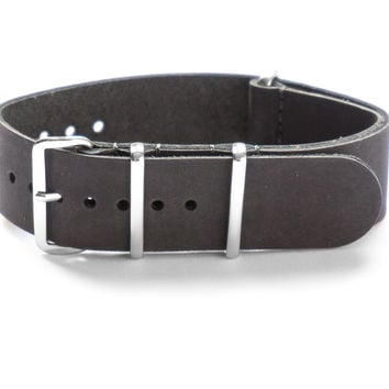 LEATHER NATO STRAP CHARCOAL