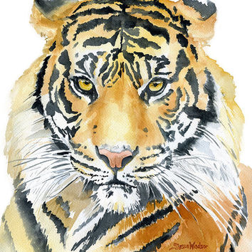 Tiger Watercolor Painting - 11 x 14 - Giclee Fine Art Print - African Animal - Wildlife - Safari