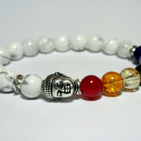 Buddha Bracelet, Mala Bracelet, Beaded Chakra Bracelet, Girlfriend Gift, Yoga Gift, White Howlite, Womens Jewelry, Meditation Mala,