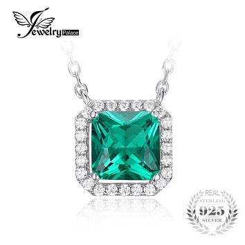 JewelryPalace Square 1.2ct Created Emerald Real 925 Sterling Silver Solitaire Pendant Necklace 18 Inches Jewelry On Sale