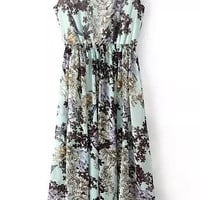 Floral Printed Sleeveless Long Dress