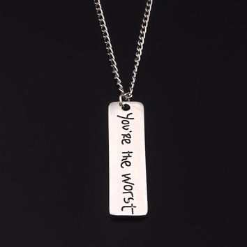 SG Fashion Jewelry Silver Letter You're The Worst   I Love You Dad Necklace Pendants For Man And Women Jewelry Father's Day Gift