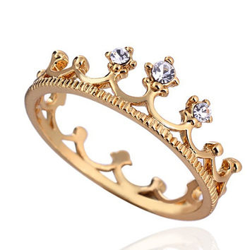Shiny Golden Crown Ring - Plated Gold Ring
